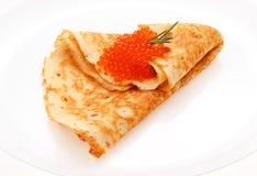 Porcja bliny na talerzu obraz stock