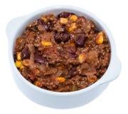 Porcja Chili Con Carne na bielu Zdjęcie Stock