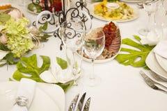 Porcja gość restauracji, poślubiający ucztę Pięknie projektował décor i d Obrazy Royalty Free