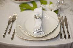 Porcja gość restauracji, poślubiający ucztę Pięknie projektował décor i d Obraz Stock