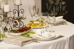 Porcja gość restauracji, poślubiający ucztę Pięknie projektował décor i d Zdjęcia Royalty Free
