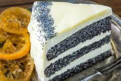 Porcja Makowego ziarna tort Obrazy Royalty Free