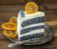 Porcja Makowego ziarna tort Zdjęcia Stock