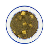 Porcja pureed grule w naczyniu i szpinak Obraz Royalty Free