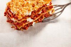 Porcja smakowity tradycyjny Włoski lasagne Obrazy Royalty Free
