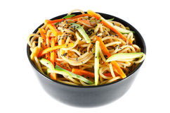 Porcja spaghetti z marchewkami i kumberlandem zucchini i soj Fotografia Stock