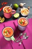 Porcje wyśmienicie gazpacho w filiżankach Zdjęcia Stock