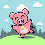 Porco alegre da dança ilustração royalty free