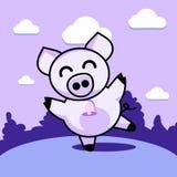 Porco alegre da dança ilustração stock