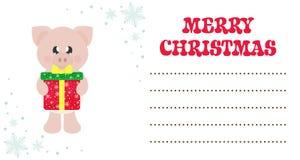 Porco bonito dos desenhos animados com lenço e presente do Natal no cartão de Natal ilustração stock