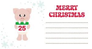 Porco bonito dos desenhos animados com o calendário do lenço e do Natal no cartão de Natal ilustração royalty free