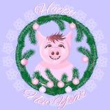 Porco bonito na janela coberto de neve ilustração royalty free