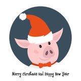 Porco bonito no chapéu de Santa ilustração do vetor
