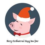 Porco bonito no chapéu de Santa ilustração royalty free