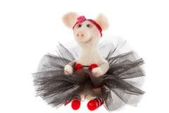 Porco branco do brinquedo em um tutu Imagem de Stock Royalty Free