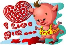 Porco com coração Fotos de Stock Royalty Free