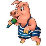 Porco com microfone Fotografia de Stock Royalty Free