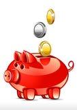 Porco com moedas Imagem de Stock Royalty Free