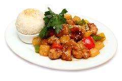 Porco con riso - alimento gastronomico asiatico Fotografia Stock Libera da Diritti