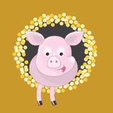 Porco cor-de-rosa com língua para fora Fotografia de Stock