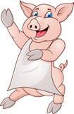 Porco de Funy com avental Fotos de Stock Royalty Free
