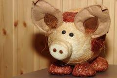 Porco decorativo da palha Fotografia de Stock