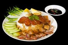 Porco del BBQ e porco croccante con riso Fotografie Stock Libere da Diritti