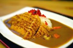 Porco del curry con riso Immagini Stock