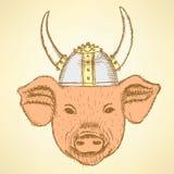 Porco do esboço no capacete de viquingue ilustração royalty free