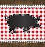 Porco do laço da toalha de mesa do menu do quadro-negro Fotografia de Stock