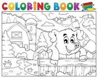 Porco do livro para colorir atrás da cerca perto da exploração agrícola Imagens de Stock Royalty Free
