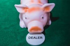 Porco do negociante do pôquer fotografia de stock royalty free