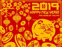 porco do símbolo do ano 2019 novo ilustração royalty free
