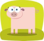 Porco dos desenhos animados com olho grande Fotos de Stock