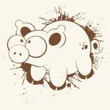 Porco dos desenhos animados de Grunge Imagem de Stock