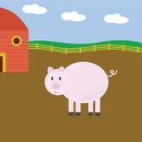 Porco dos desenhos animados na exploração agrícola Imagem de Stock