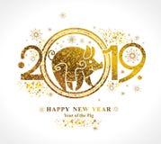 Porco dourado 2019 no calendário chinês ilustração do vetor