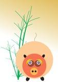 Porco e bambu Imagens de Stock Royalty Free