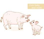 Porco e leitão ilustração stock