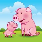 Porco e leitão da matriz ilustração stock