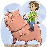 Porco e menino Fotografia de Stock