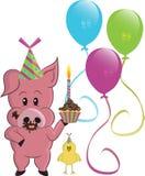 Porco e pássaro dos desenhos animados Imagem de Stock Royalty Free