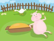 Porco em uma exploração agrícola ilustração royalty free