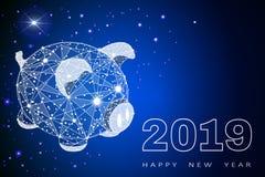Porco engraçado bonito Ano novo feliz Símbolo chinês dos 2019 anos Vale-oferta festivo excelente Ilustração do vetor no vermelho fotos de stock royalty free