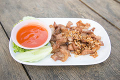 Porco fritto alimento tailandese Immagine Stock Libera da Diritti