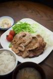 Porco giapponese Shogayaki di cucina Fotografia Stock