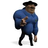 Porco grande animal de Toon como um polícia Imagens de Stock Royalty Free