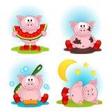 porco na ação ilustração royalty free