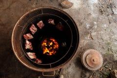 Porco nativo da grade de Tailândia Fotografia de Stock Royalty Free