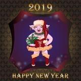 Porco no vestido do ano novo s ilustração do vetor